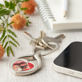"""Say You'll Be Mine"" Ali Isabella Keychain Silver-Colored Twisted Heart Key Ring"
