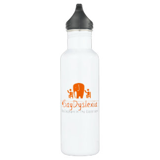 #SayDyslexia Custom Water Bottle (24 oz), White