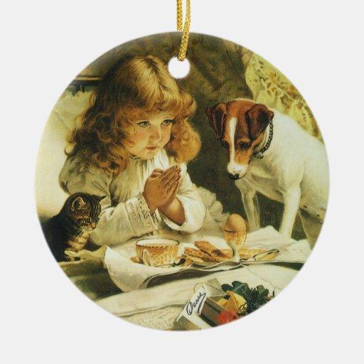 Saying Our Prayers, Suspense Charles Burton Barber Round Ceramic Decoration