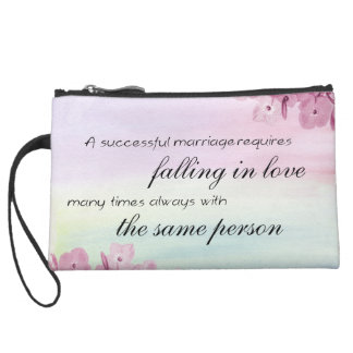 Saying Quote Suede Wristlet