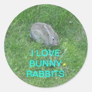 SB_16821088, I LOVE BUNNY RABBITS ROUND STICKER