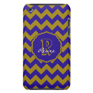 SC Monogram Chevron,Blue-Gold iPod Touch 4g Case Barely There iPod Cover