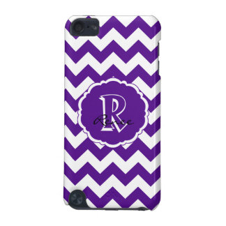 SC Monogram Chevron,Purple-White iPod Touch 5g iPod Touch (5th Generation) Covers