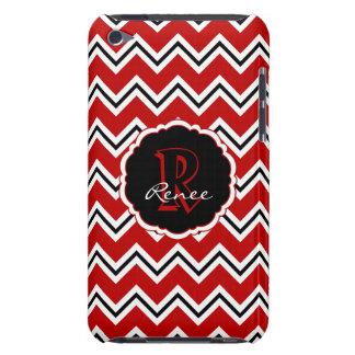 SC Monogram Chevron Red White Black iPod 4g Case Barely There iPod Case