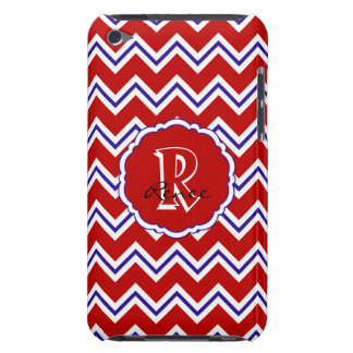 SC Monogram Chevron Red White Blue iPod Touch 4g Barely There iPod Cover