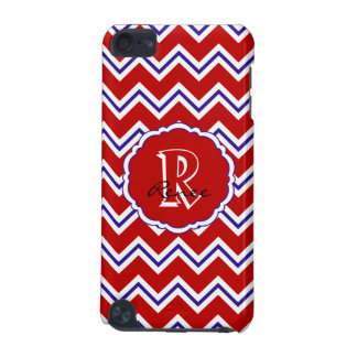SC Monogram Chevron Red White Blue iPod Touch 5g iPod Touch 5G Cases