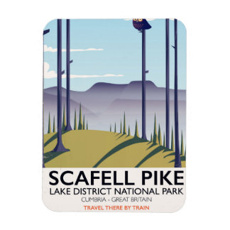 Scafell Pike, Cumbria, Vintage travel poster Rectangular Photo Magnet