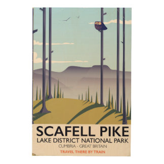 Scafell Pike, Cumbria, Vintage travel poster Wood Prints