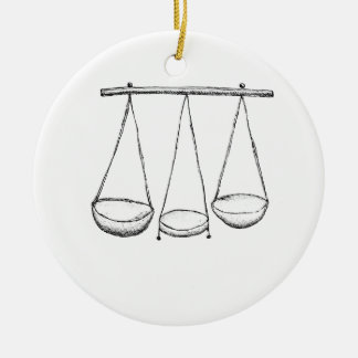 Scale Double-Sided Ceramic Round Christmas Ornament
