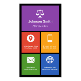 Scale of Justice Lawyer - Colorful Tiles Creative Business Card Templates