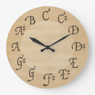 Scale of Music Notes with Sharps, Antique Look Large Clock