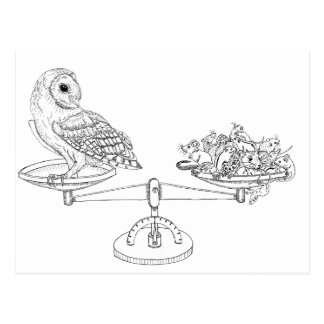 Scale with Barn owl and mice Postcard