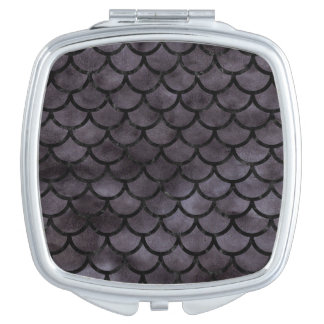 SCALES1 BLACK MARBLE & BLACK WATERCOLOR (R) TRAVEL MIRRORS