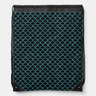 SCALES1 BLACK MARBLE & BLUE-GREEN WATER DRAWSTRING BAG