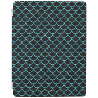 SCALES1 BLACK MARBLE & BLUE-GREEN WATER iPad COVER