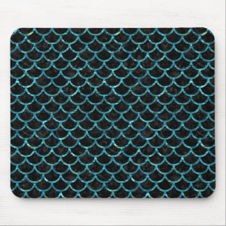 SCALES1 BLACK MARBLE & BLUE-GREEN WATER MOUSE PAD