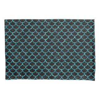 SCALES1 BLACK MARBLE & BLUE-GREEN WATER PILLOWCASE