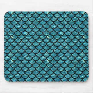 SCALES1 BLACK MARBLE & BLUE-GREEN WATER (R) MOUSE PAD