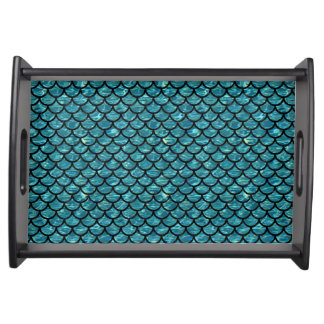 SCALES1 BLACK MARBLE & BLUE-GREEN WATER (R) SERVING TRAY