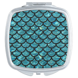 SCALES1 BLACK MARBLE & BLUE-GREEN WATER (R) TRAVEL MIRROR
