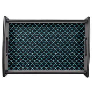 SCALES1 BLACK MARBLE & BLUE-GREEN WATER SERVING TRAY