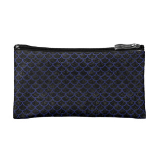 SCALES1 BLACK MARBLE & BLUE LEATHER MAKEUP BAG