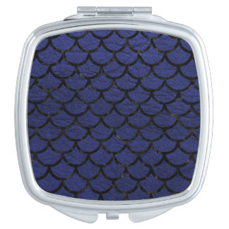 SCALES1 BLACK MARBLE & BLUE LEATHER (R) COMPACT MIRROR