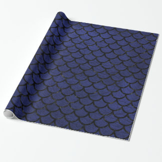 SCALES1 BLACK MARBLE & BLUE LEATHER (R) WRAPPING PAPER