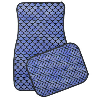 SCALES1 BLACK MARBLE & BLUE WATERCOLOR (R) CAR MAT