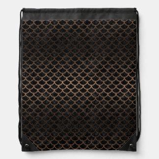 SCALES1 BLACK MARBLE & BRONZE METAL DRAWSTRING BAG