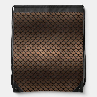 SCALES1 BLACK MARBLE & BRONZE METAL (R) DRAWSTRING BAG