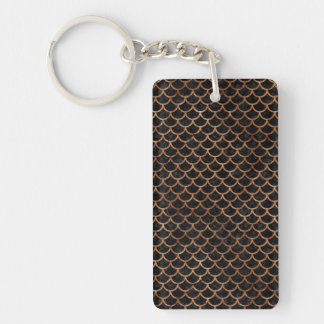 SCALES1 BLACK MARBLE & BROWN STONE KEY RING