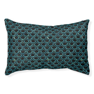 SCALES2 BLACK MARBLE & BLUE-GREEN WATER PET BED