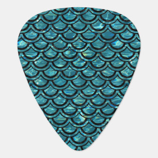 SCALES2 BLACK MARBLE & BLUE-GREEN WATER (R) GUITAR PICK