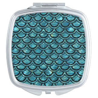 SCALES2 BLACK MARBLE & BLUE-GREEN WATER (R) MIRROR FOR MAKEUP