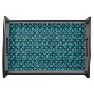 SCALES2 BLACK MARBLE & BLUE-GREEN WATER (R) SERVING TRAY