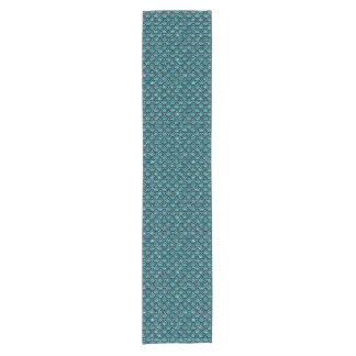 SCALES2 BLACK MARBLE & BLUE-GREEN WATER (R) SHORT TABLE RUNNER