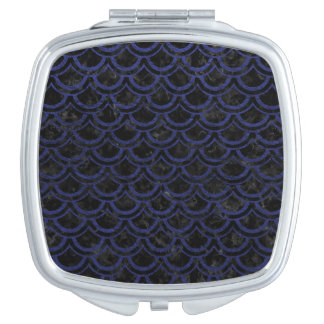 SCALES2 BLACK MARBLE & BLUE LEATHER MAKEUP MIRROR