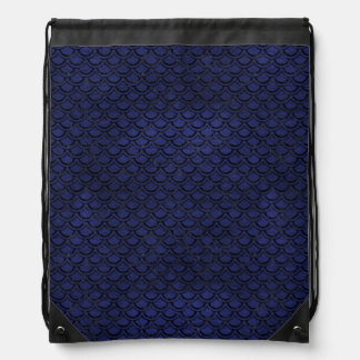 SCALES2 BLACK MARBLE & BLUE LEATHER (R) DRAWSTRING BAG