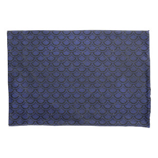SCALES2 BLACK MARBLE & BLUE LEATHER (R) PILLOWCASE