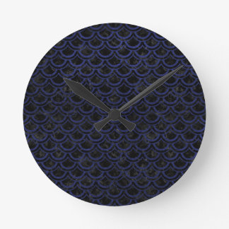 SCALES2 BLACK MARBLE & BLUE LEATHER ROUND CLOCK