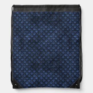 SCALES2 BLACK MARBLE & BLUE STONE (R) DRAWSTRING BAG