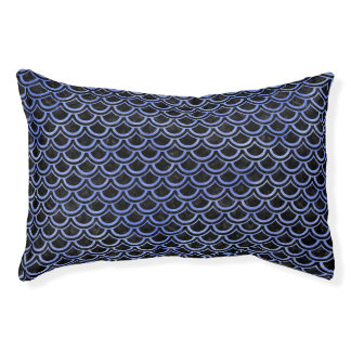 SCALES2 BLACK MARBLE & BLUE WATERCOLOR PET BED