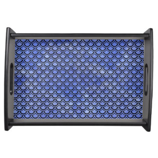 SCALES2 BLACK MARBLE & BLUE WATERCOLOR (R) SERVING TRAY
