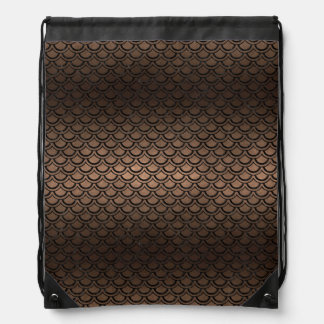 SCALES2 BLACK MARBLE & BRONZE METAL (R) DRAWSTRING BAG
