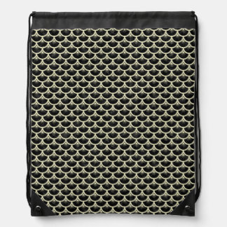 SCALES3 BLACK MARBLE & BEIGE LINEN DRAWSTRING BAG