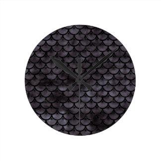 SCALES3 BLACK MARBLE & BLACK WATERCOLOR (R) ROUND CLOCK
