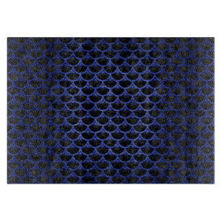 SCALES3 BLACK MARBLE & BLUE BRUSHED METAL CUTTING BOARD