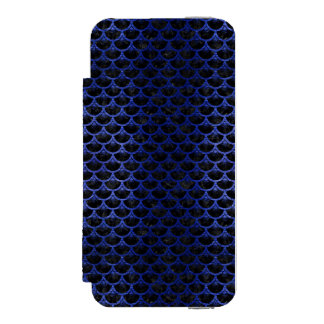 SCALES3 BLACK MARBLE & BLUE BRUSHED METAL INCIPIO WATSON™ iPhone 5 WALLET CASE