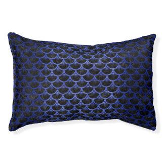 SCALES3 BLACK MARBLE & BLUE BRUSHED METAL PET BED